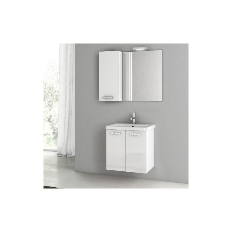 ACF by Nameeks CP46 City Play 22 Wall Mounted Vanity Set with Wood Cabinet, Cer Glossy White Fixture Single