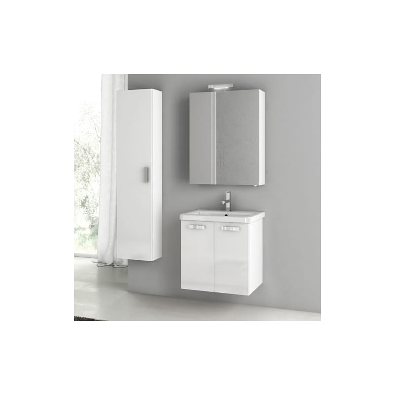 ACF by Nameeks CP47 City Play 22 Wall Mounted Vanity Set with Wood Cabinet, Cer Glossy White Fixture Single