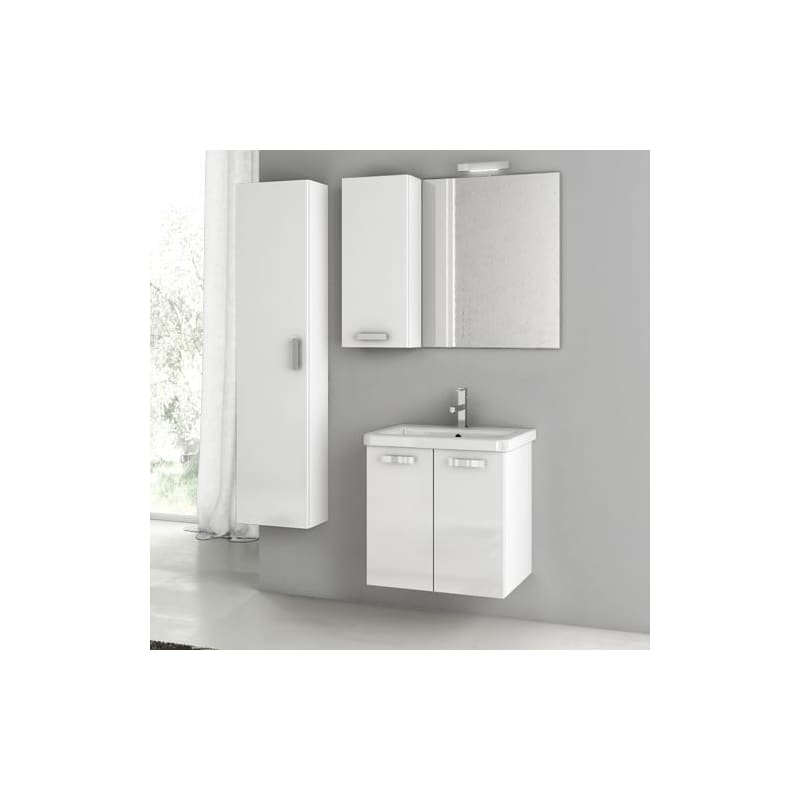 ACF by Nameeks CP49 City Play 22 Wall Mounted Vanity Set with Wood Cabinet, Cer Glossy White Fixture Single