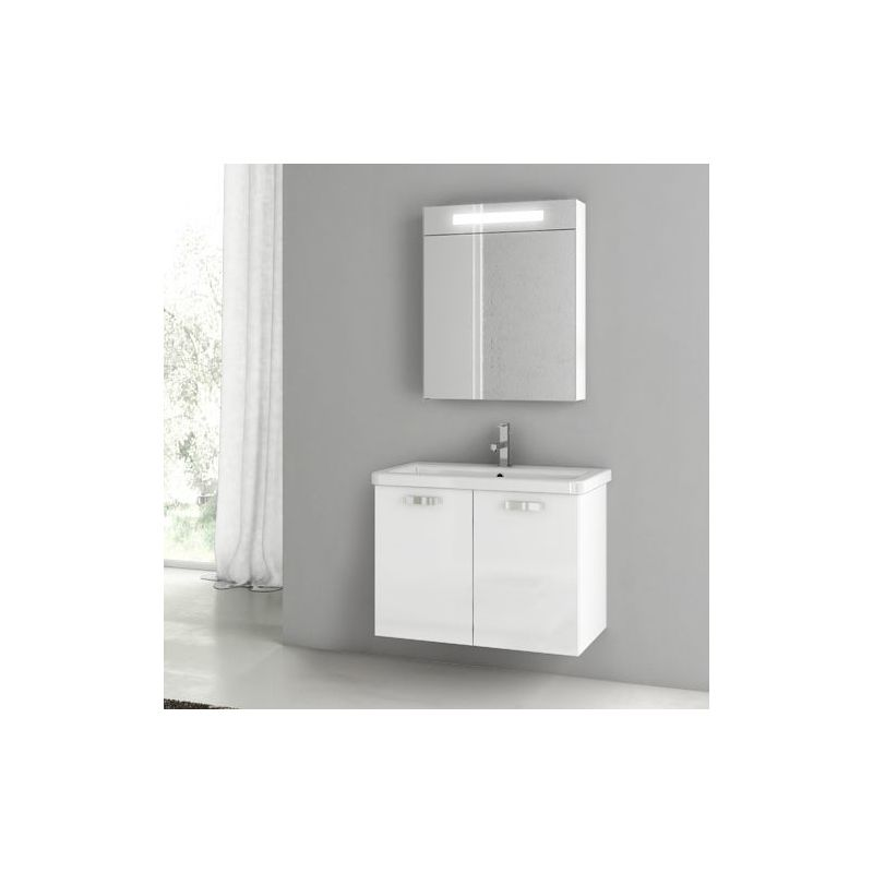 ACF by Nameeks CP68 City Play 30 Wall Mounted Vanity Set with Wood Cabinet, Cer Glossy White Fixture Single
