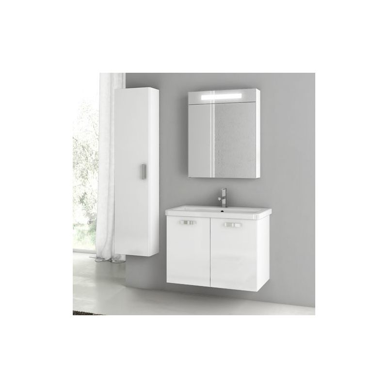 ACF by Nameeks CP72 City Play 30 Wall Mounted Vanity Set with Wood Cabinet, Cer Glossy White Fixture Single