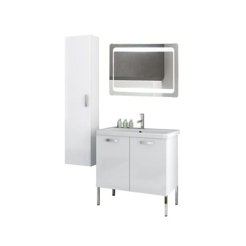 ACF by Nameeks CP93 City Play 30 Floor Standing Vanity Set with Wood Cabinet, C Glossy White Fixture Single
