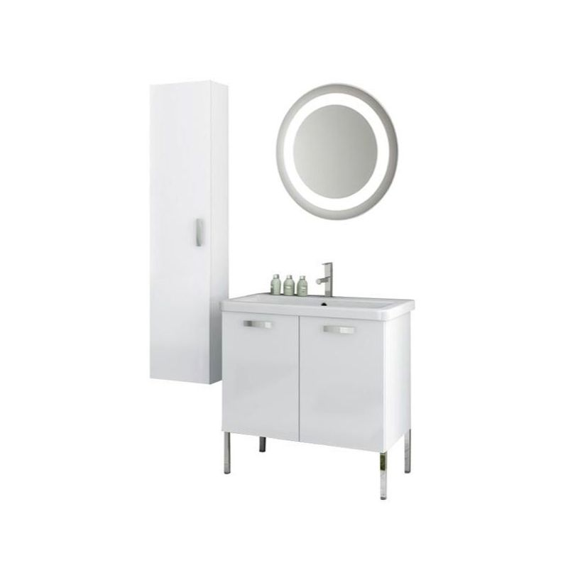 ACF by Nameeks CP94 City Play 30 Floor Standing Vanity Set with Wood Cabinet, C Glossy White Fixture Single