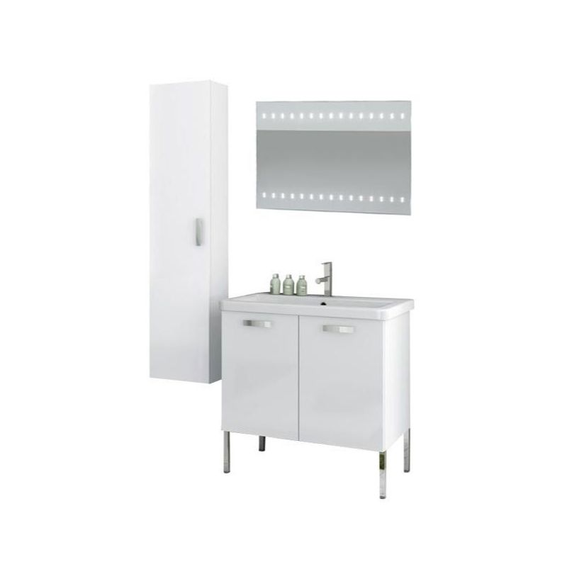 ACF by Nameeks CP95 City Play 30 Floor Standing Vanity Set with Wood Cabinet, C Glossy White Fixture Single
