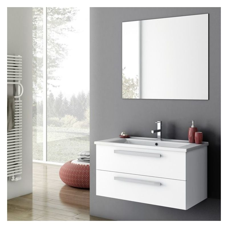 ACF by Nameeks DA02 Dadila 32-7\/10 Wall Mounted Vanity Set with Wood Cabinet, C Glossy White Fixture Single