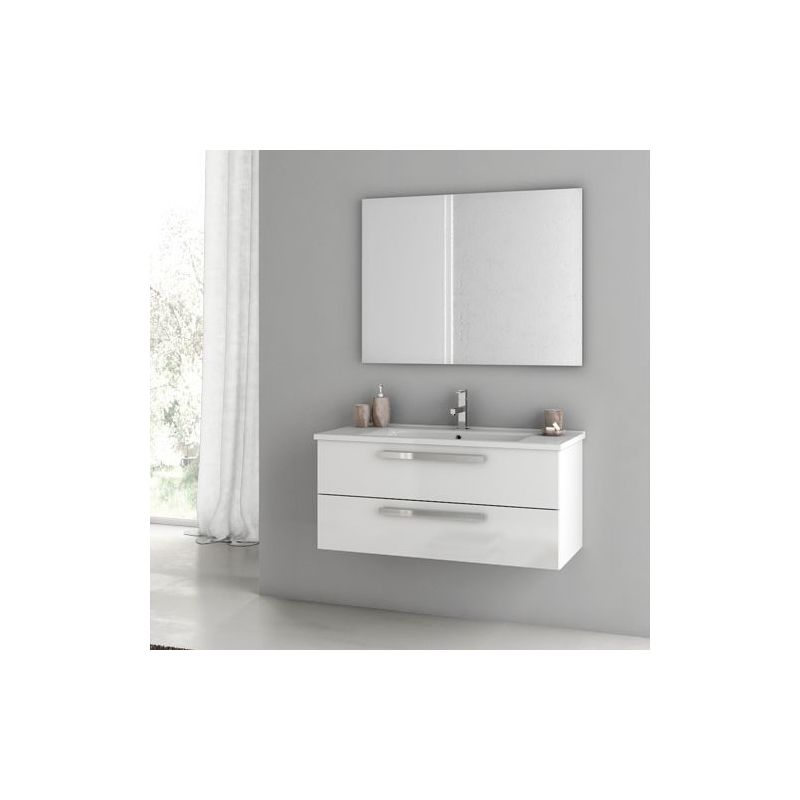 ACF by Nameeks DA12 Dadila 38-1\/5 Wall Mounted Vanity Set with Wood Cabinet, Ce Glossy White Fixture Single