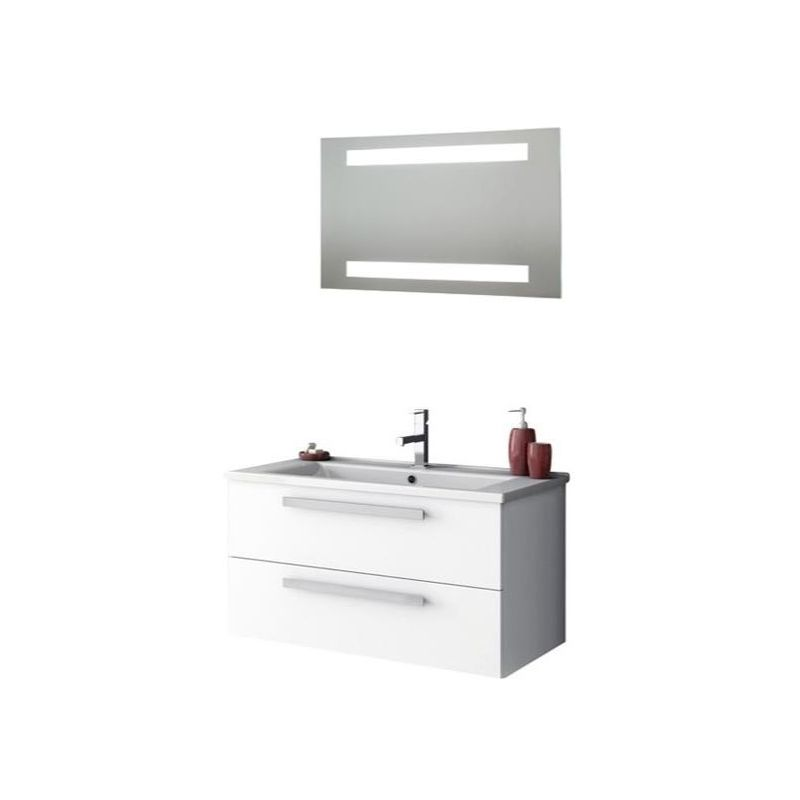 ACF by Nameeks DA18 Dadila 32-7\/10 Wall Mounted Vanity Set with Wood Cabinet, C Glossy White Fixture Single