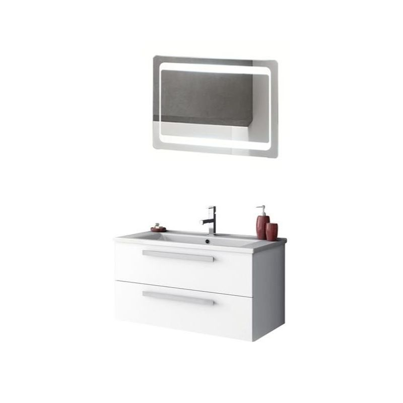ACF by Nameeks DA19 Dadila 32-7\/10 Wall Mounted Vanity Set with Wood Cabinet, C Glossy White Fixture Single
