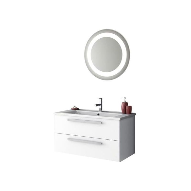 ACF by Nameeks DA20 Dadila 32-7\/10 Wall Mounted Vanity Set with Wood Cabinet, C Glossy White Fixture Single