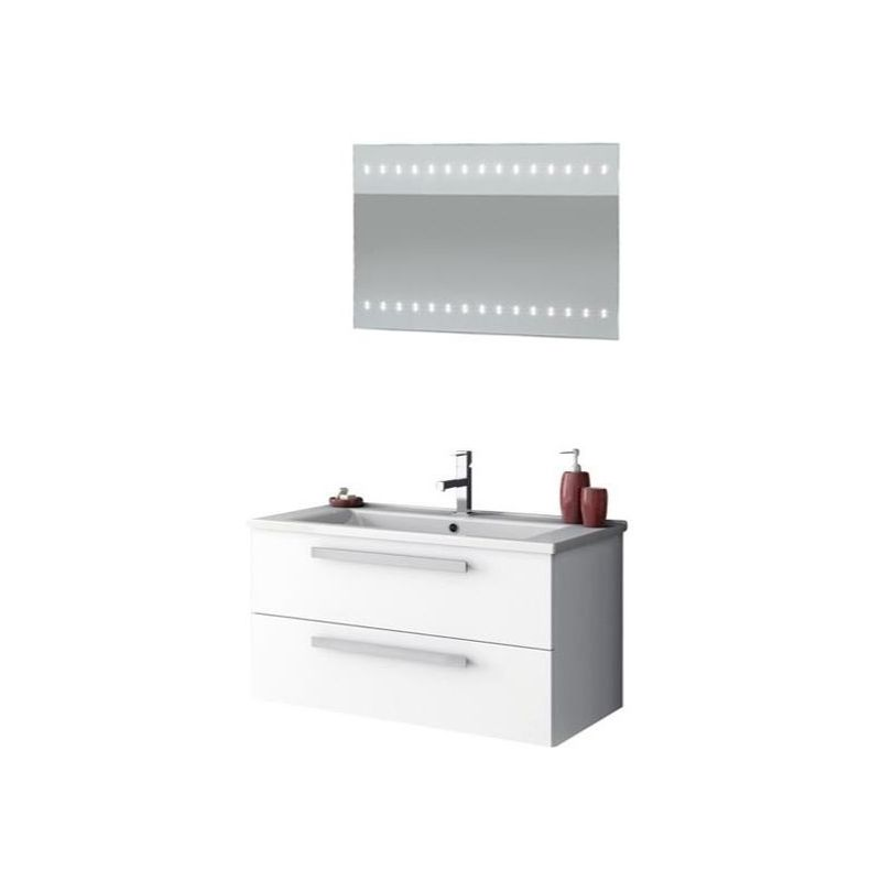 ACF by Nameeks DA21 Dadila 32-7\/10 Wall Mounted Vanity Set with Wood Cabinet, C Glossy White Fixture Single