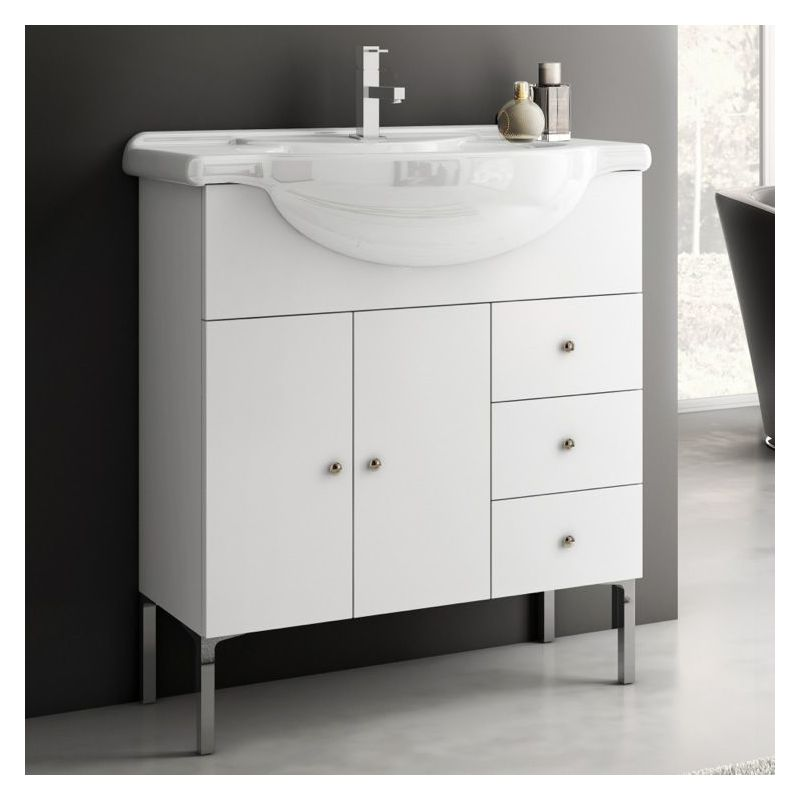 ACF by Nameeks LON03 London 31-1\/2 Wall Mounted Vanity Set with Wood Cabinet, C Glossy White Fixture Single