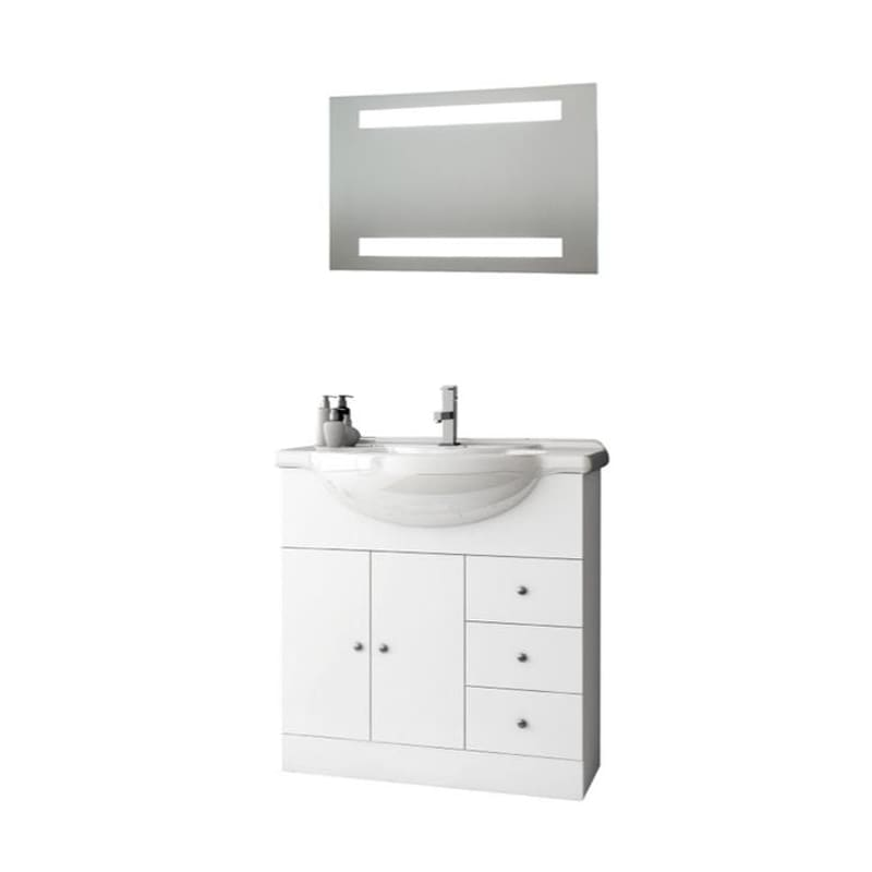 ACF by Nameeks LON09 London 31-1\/2 Wall Mounted Vanity Set with Wood Cabinet, C Glossy White Fixture Single