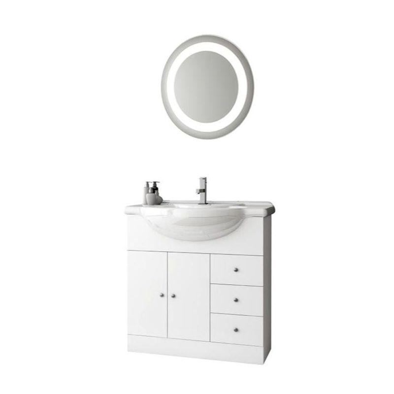 ACF by Nameeks LON11 London 31-1\/2 Wall Mounted Vanity Set with Wood Cabinet, C Glossy White Fixture Single