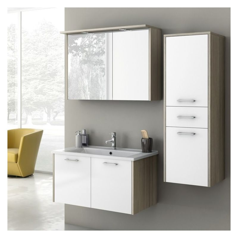 ACF by Nameeks NI01 Nico 32-7\/10 Wall Mounted Vanity Set with Wood Cabinet, Cer Glossy White\/Larch Canapa Fixture Single