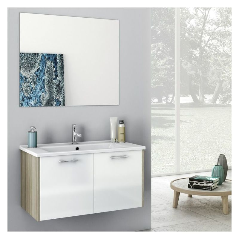 ACF by Nameeks NI03 Nico 32-7\/10 Wall Mounted Vanity Set with Wood Cabinet, Cer Glossy White\/Larch Canapa Fixture Single