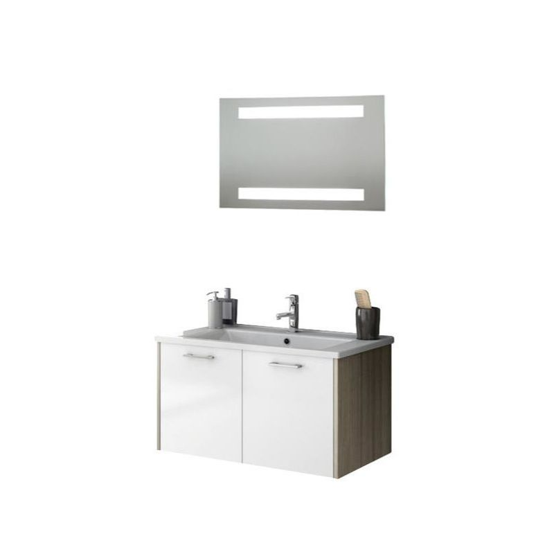 ACF by Nameeks NI10 Nico 32-7\/10 Wall Mounted Vanity Set with Wood Cabinet, Cer Glossy White\/Larch Canapa Fixture Single