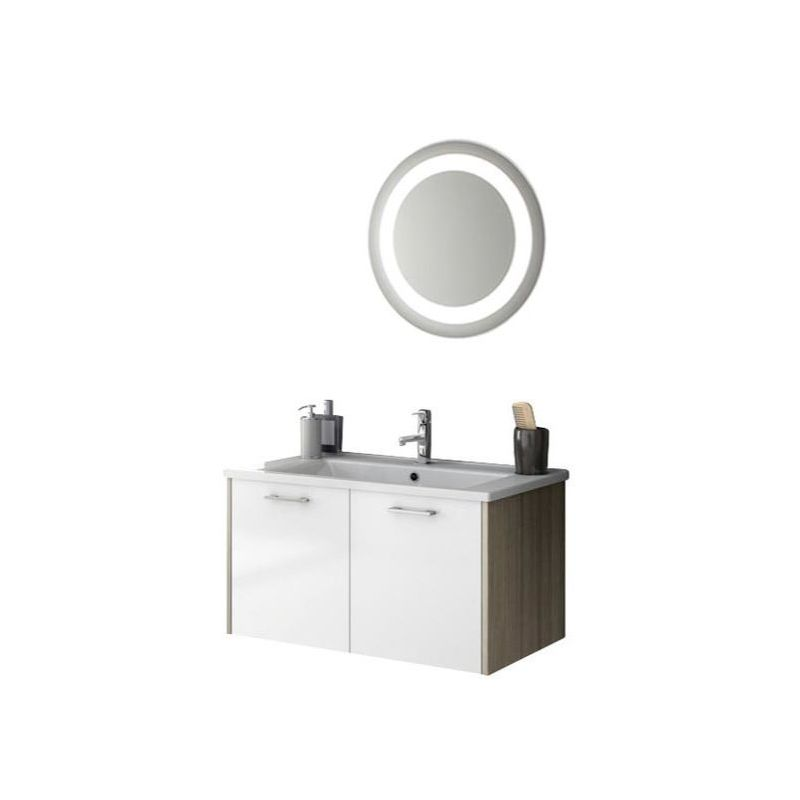 ACF by Nameeks NI12 Nico 32-7\/10 Wall Mounted Vanity Set with Wood Cabinet, Cer Glossy White\/Larch Canapa Fixture Single