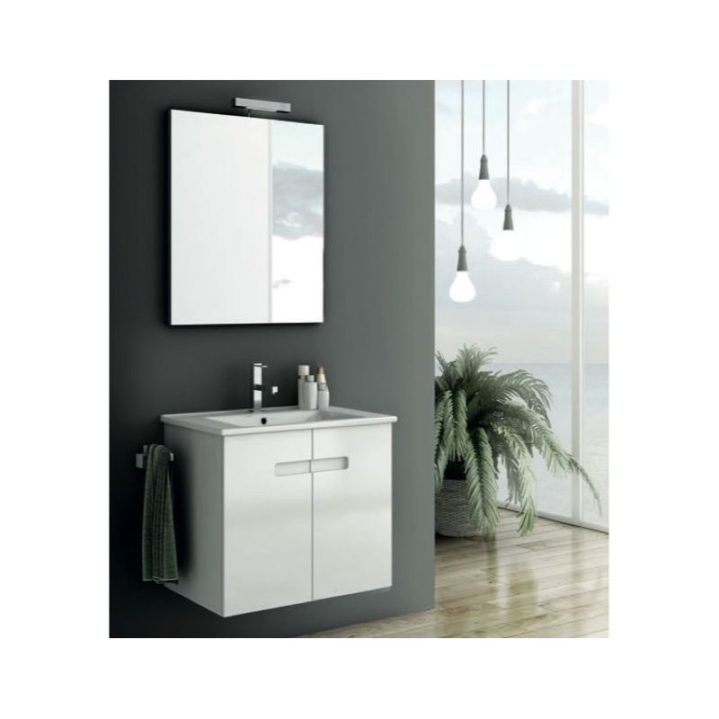 ACF by Nameeks NY01 New York 24-6\/15 Wall Mounted Vanity Set with Wood Cabinet, PVC Glossy White Fixture Single