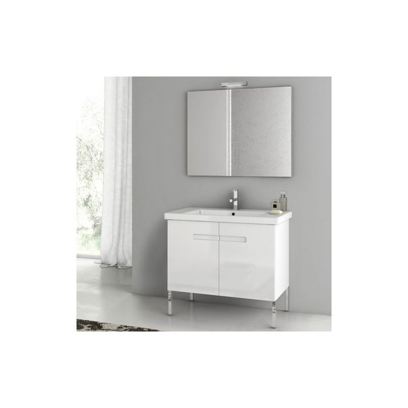 ACF by Nameeks NY02 New York 32-3\/10 Floor Standing Vanity Set with Wood Cabine PVC Glossy White Fixture Single