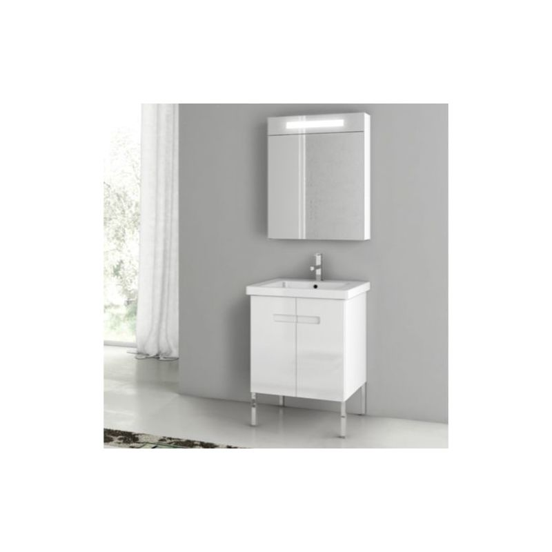 ACF by Nameeks NY03 New York 24-6\/15 Floor Standing Vanity Set with Wood Cabine PVC Glossy White Fixture Single