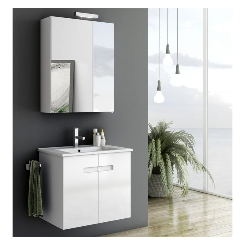 ACF by Nameeks NY05 New York 24-6\/15 Wall Mounted Vanity Set with Wood Cabinet, PVC Glossy White Fixture Single