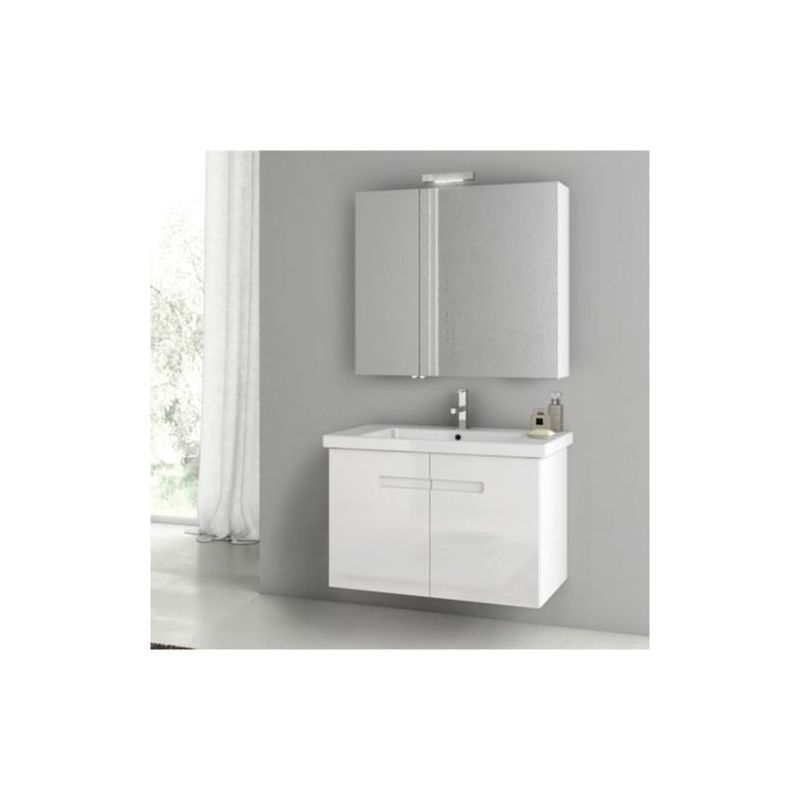 ACF by Nameeks NY06 New York 32-3\/10 Wall Mounted Vanity Set with Wood Cabinet, PVC Glossy White Fixture Single