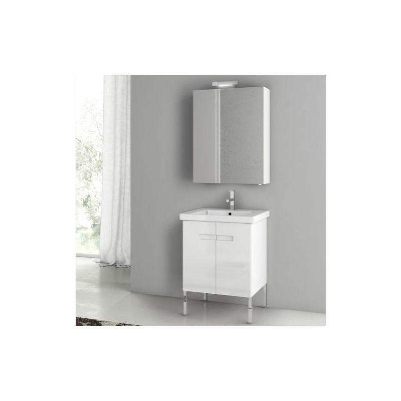 ACF by Nameeks NY07 New York 24-6\/15 Floor Standing Vanity Set with Wood Cabine PVC Glossy White Fixture Single
