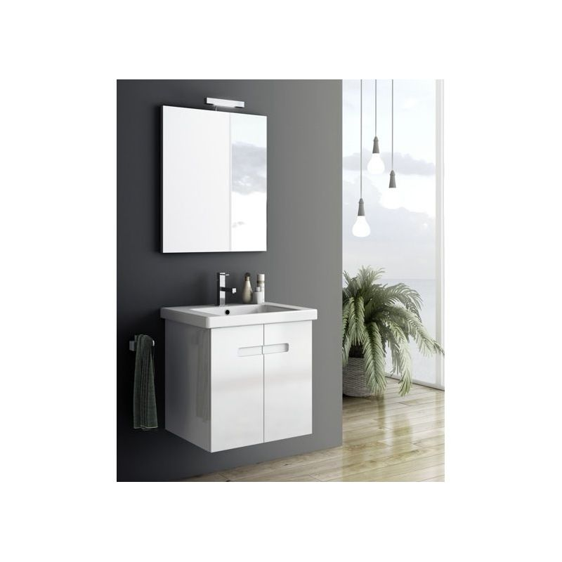 ACF by Nameeks NY1 New York 2 21-6\/15 Wall Mounted Vanity Set with Wood Cabinet PVC Glossy White Fixture Single