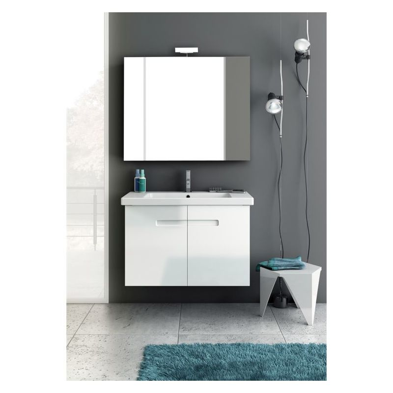 ACF by Nameeks NY4 New York 2 33-1\/2 Floor Standing Vanity Set with Wood Cabine PVC Glossy White Fixture Single