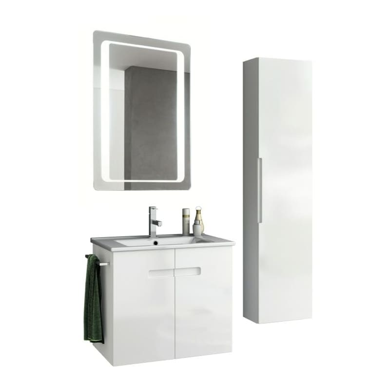 ACF by Nameeks NY44 New York 24-6\/15 Wall Mounted Vanity Set with Wood Cabinet, PVC Glossy White Fixture Single