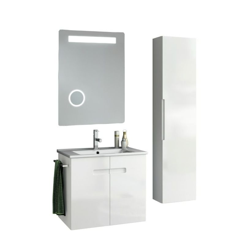 ACF by Nameeks NY45 New York 24-6\/15 Wall Mounted Vanity Set with Wood Cabinet, PVC Glossy White Fixture Single