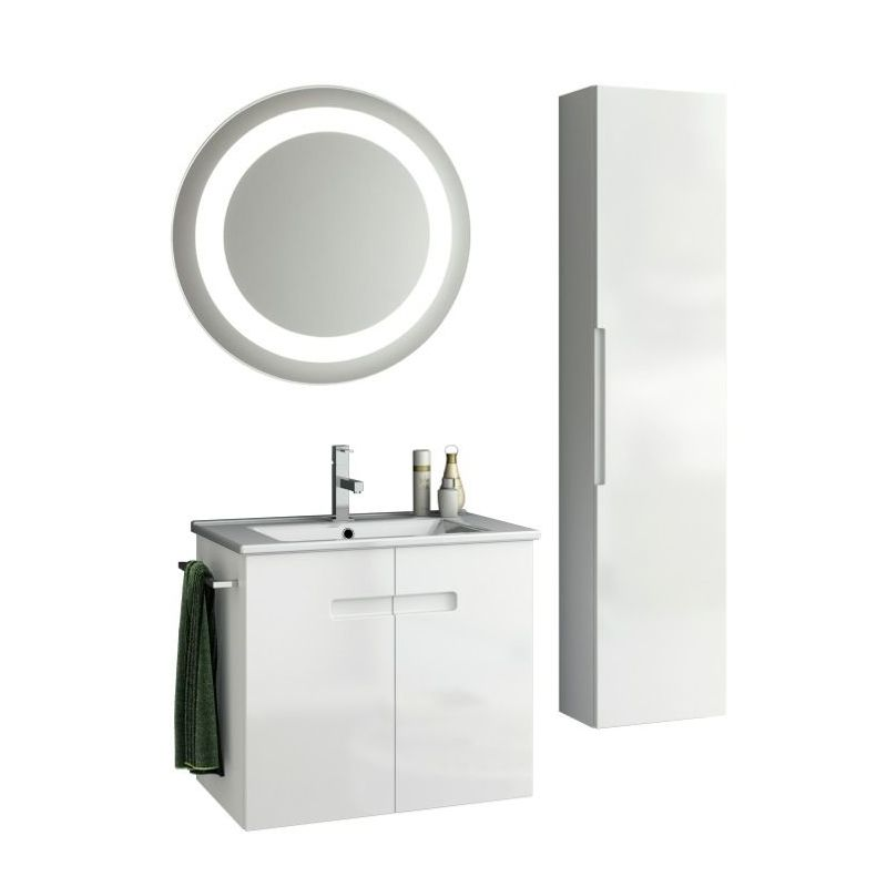 ACF by Nameeks NY46 New York 24-6\/15 Wall Mounted Vanity Set with Wood Cabinet, PVC Glossy White Fixture Single