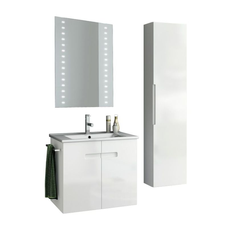 ACF by Nameeks NY47 New York 24-6\/15 Wall Mounted Vanity Set with Wood Cabinet, PVC Glossy White Fixture Single