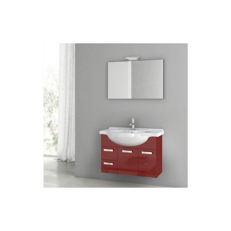 ACF by Nameeks PH01 Phinex 31-1\/2 Wall Mounted Vanity Set with Wood Cabinet, Ce Glossy Red Fixture Single