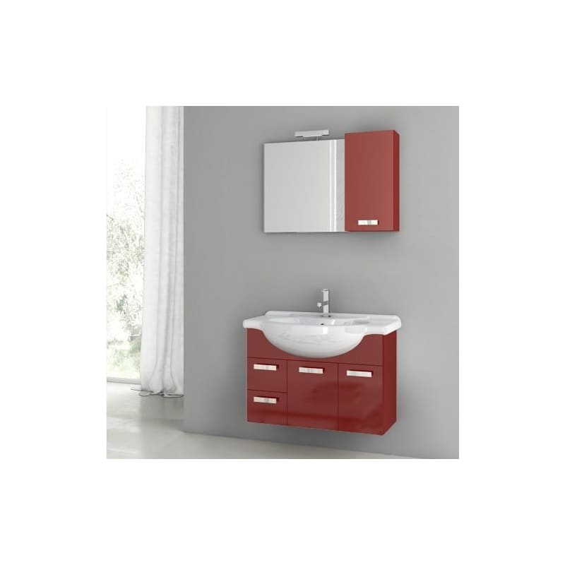 ACF by Nameeks PH02 Phinex 31-1\/2 Wall Mounted Vanity Set with Wood Cabinet, Ce Glossy Red Fixture Single