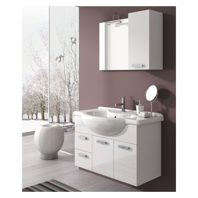 ACF by Nameeks PH02 Phinex 31-1\/2 Wall Mounted Vanity Set with Wood Cabinet, Ce Glossy White Fixture Single