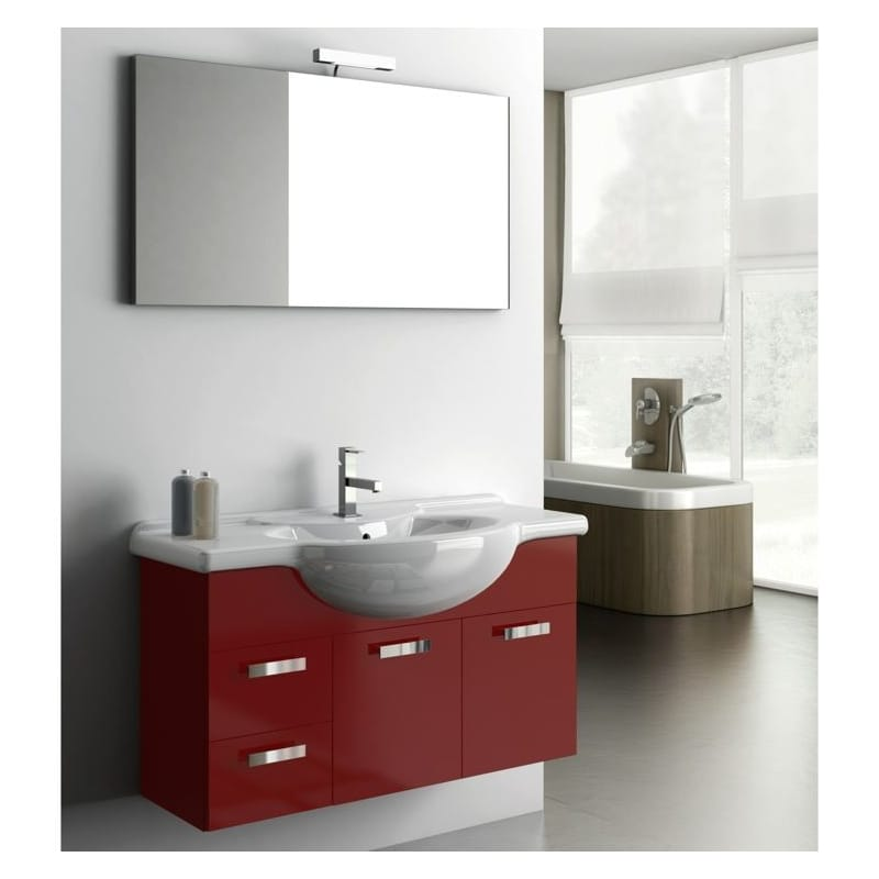 ACF by Nameeks PH03 Phinex 39-6\/15 Wall Mounted Vanity Set with Wood Cabinet, C Glossy Red Fixture Single