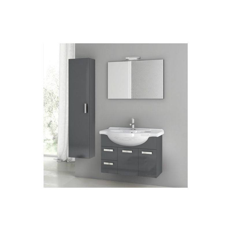 ACF by Nameeks PH05 Phinex 31-1\/2 Wall Mounted Vanity Set with Wood Cabinet, Ce Glossy Anthracite Fixture Single