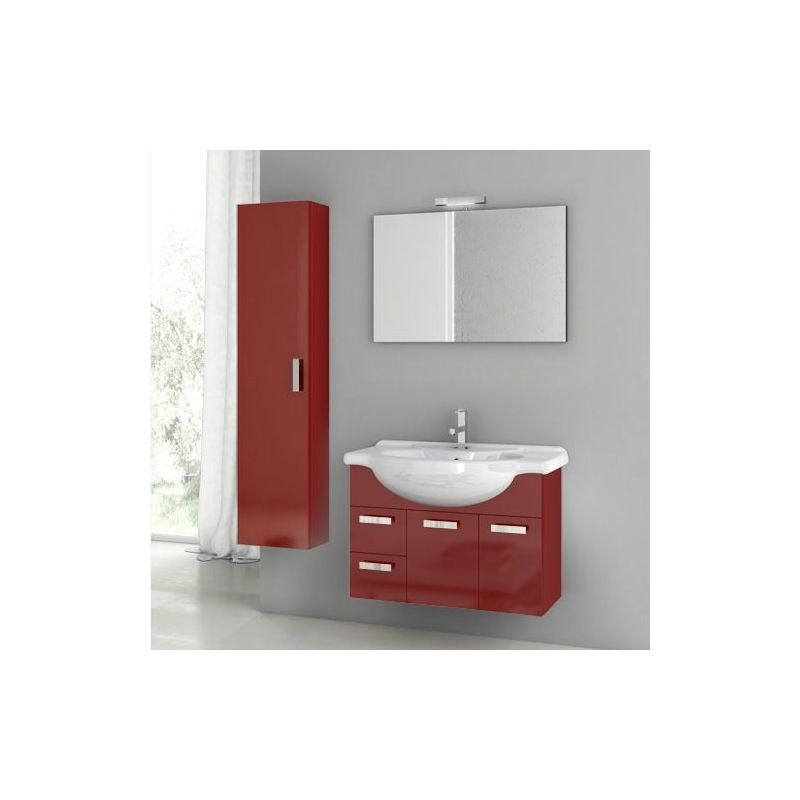 ACF by Nameeks PH05 Phinex 31-1\/2 Wall Mounted Vanity Set with Wood Cabinet, Ce Glossy Red Fixture Single