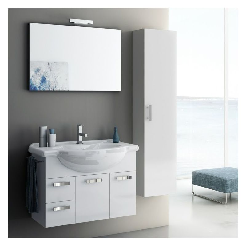 ACF by Nameeks PH05 Phinex 31-1\/2 Wall Mounted Vanity Set with Wood Cabinet, Ce Glossy White Fixture Single