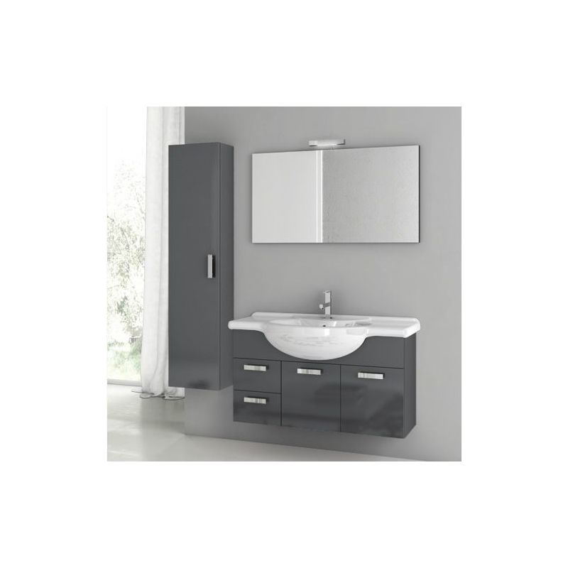 ACF by Nameeks PH06 Phinex 39-6\/15 Wall Mounted Vanity Set with Wood Cabinet, C Glossy Anthracite Fixture Single