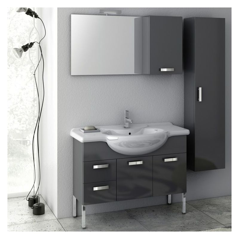 ACF by Nameeks PH07 Phinex 39-6\/15 Floor Standing Vanity Set with Wood Cabinet, Glossy Anthracite Fixture Single