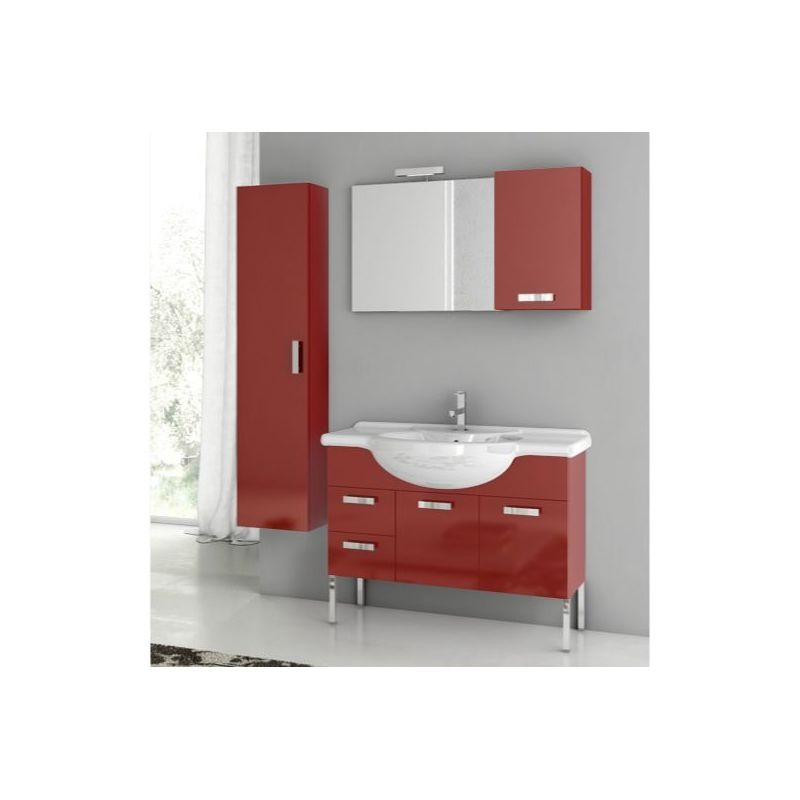 ACF by Nameeks PH07 Phinex 39-6\/15 Floor Standing Vanity Set with Wood Cabinet, Glossy Red Fixture Single