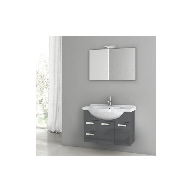 ACF by Nameeks PH11 Phinex 31-1\/2 Wall Mounted Vanity Set with Wood Cabinet, Ce Glossy Anthracite Fixture Single
