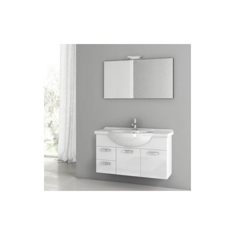 ACF by Nameeks PH16 Phinex 39-6\/15 Wall Mounted Vanity Set with Wood Cabinet, C Glossy White Fixture Single