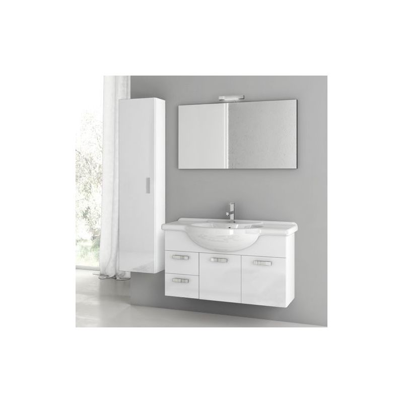 ACF by Nameeks PH18 Phinex 39-6\/15 Wall Mounted Vanity Set with Wood Cabinet, C Glossy White Fixture Single
