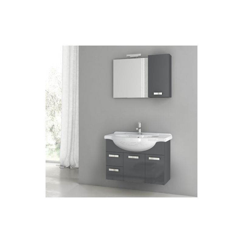 ACF by Nameeks PH19 Phinex 31-1\/2 Wall Mounted Vanity Set with Wood Cabinet, Ce Glossy Anthracite Fixture Single