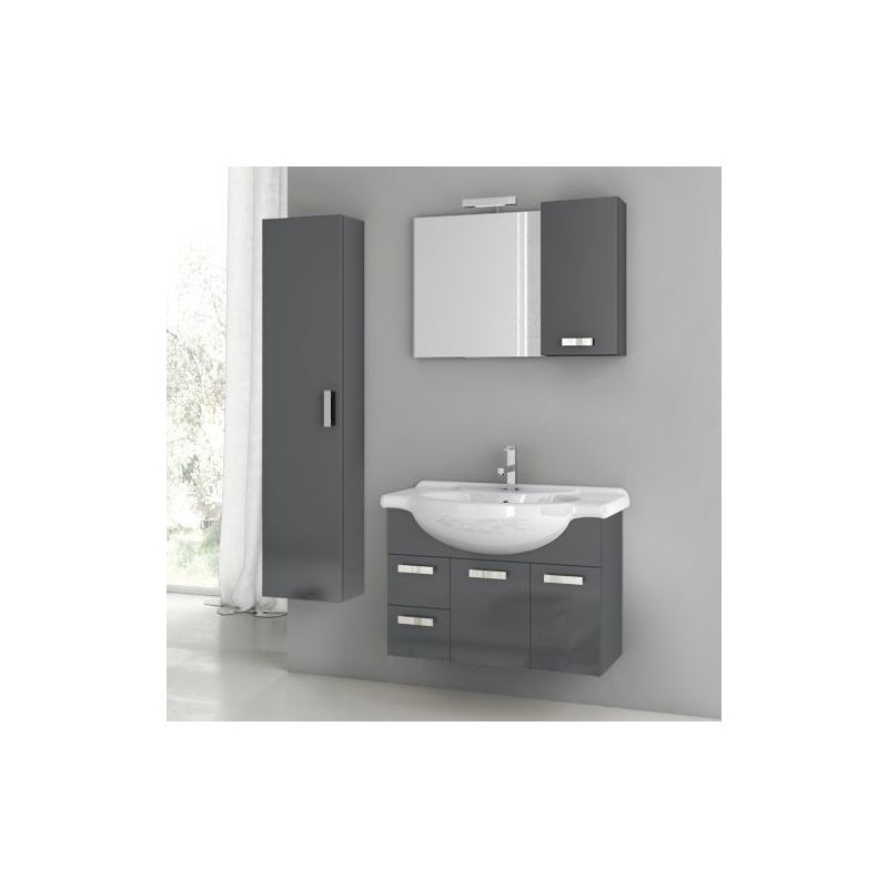 ACF by Nameeks PH20 Phinex 31-1\/2 Wall Mounted Vanity Set with Wood Cabinet, Ce Glossy Anthracite Fixture Single