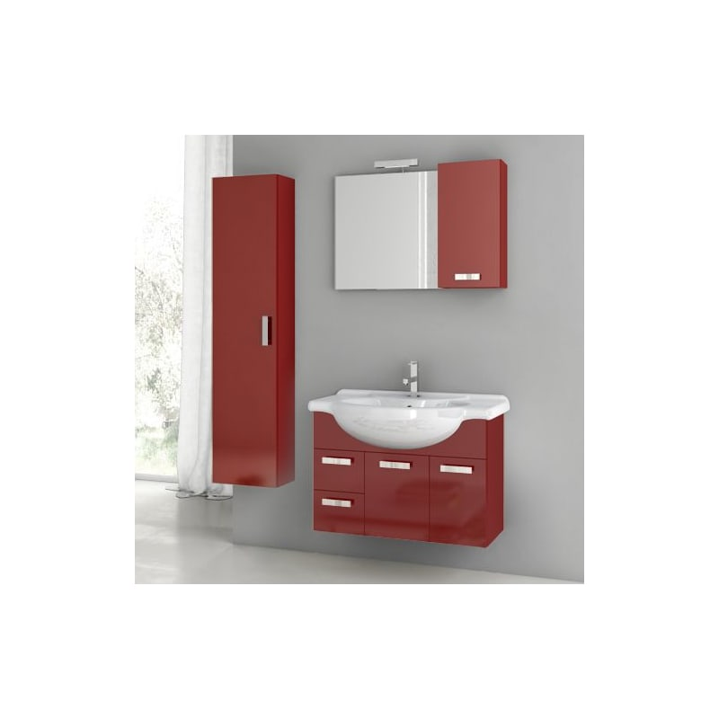 ACF by Nameeks PH22 Phinex 31-1\/2 Wall Mounted Vanity Set with Wood Cabinet, Ce Glossy Red Fixture Single