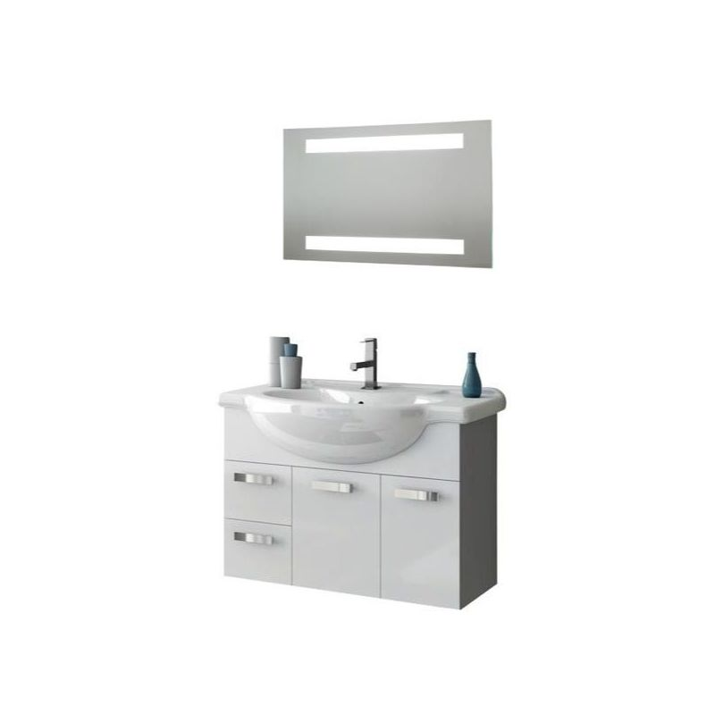 ACF by Nameeks PH26 Phinex 31-1\/2 Wall Mounted Vanity Set with Wood Cabinet, Ce Glossy White Fixture Single